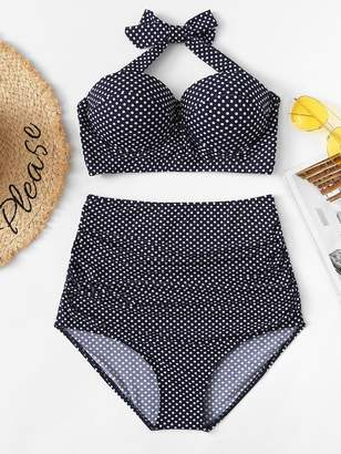 Shein Plus Dot Print Halter Top With High Waist Bikini Set