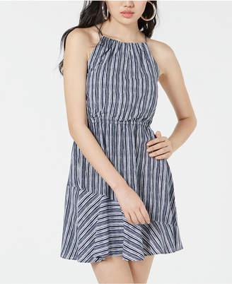 My Michelle Sequin Hearts Juniors' Striped Flounce Dress