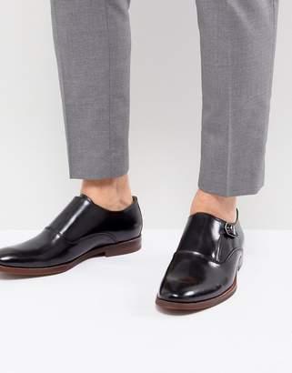 Aldo Catallo Leather Monk Shoes In Black