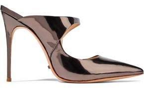 Schutz Nicolly Mirrored-Leather Mules