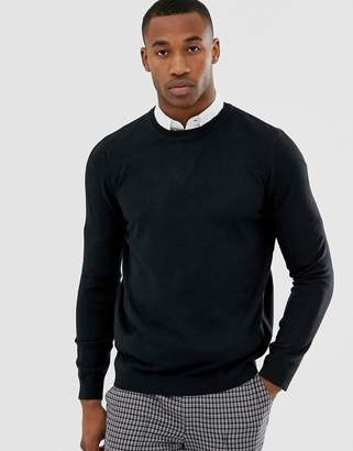 Asos DESIGN knitted crew neck sweater in navy