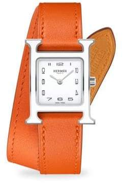 Heure H Lacquered, Stainless Steel & Leather Strap Watch