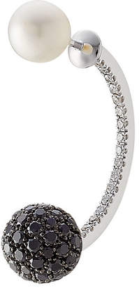 Delfina Delettrez 18kt White Gold Sphere Earring with Diamonds and Pearl