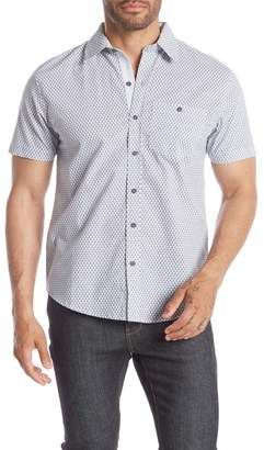 SAVILE ROW CO Treble Musical Note Print Short Sleeve Slim Fit Shirt