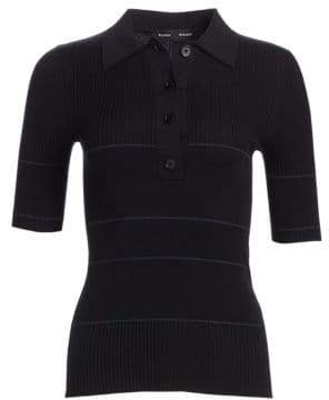 Proenza Schouler Rib-Knit Collared Silk& Cashmere Blend Sweater