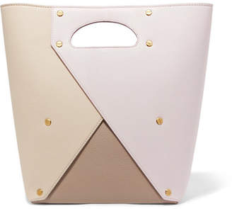 Yuzefi - Pablo Color-block Textured-leather Tote - Pastel pink