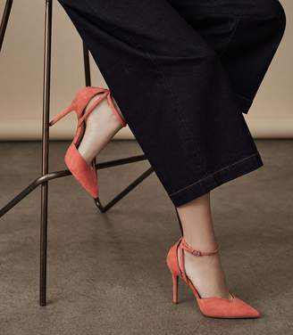 Reiss Katya - Suede Ankle-strap Shoes in Salsa Pink