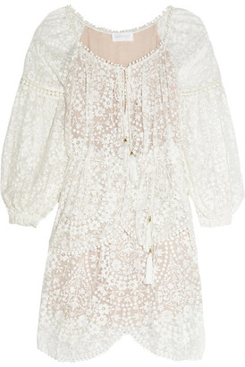 Embroidered Silk-georgette Dress - Ivory