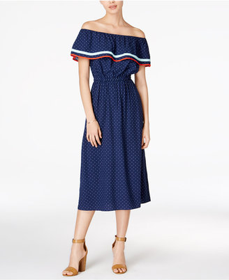 Maison Jules Fiesta Cotton Off-The-Shoulder Flounce Dress, Only at Macy's $79.50 thestylecure.com