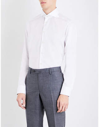 Eton End-on-end-patterned slim-fit cotton shirt