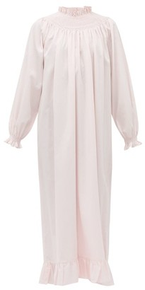 Loretta Caponi - Shirred Swiss Dot Cotton Poplin Dress - Womens - Pink