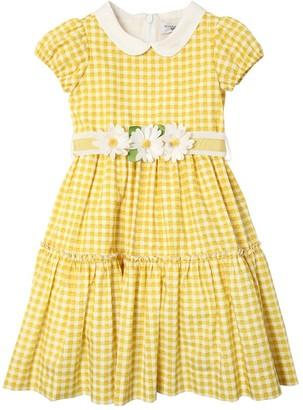 MonnaLisa Gingham Print Cotton Poplin Dress