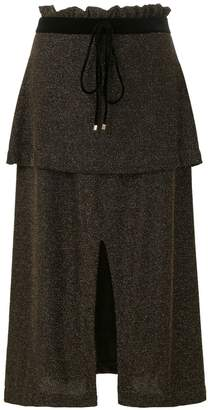 Olympiah knitted tiered slit skirt