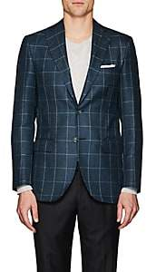 Piattelli MEN'S CHECKED WOOL-BLEND TWO-BUTTON SPORTCOAT - OLIVE SIZE 38 R