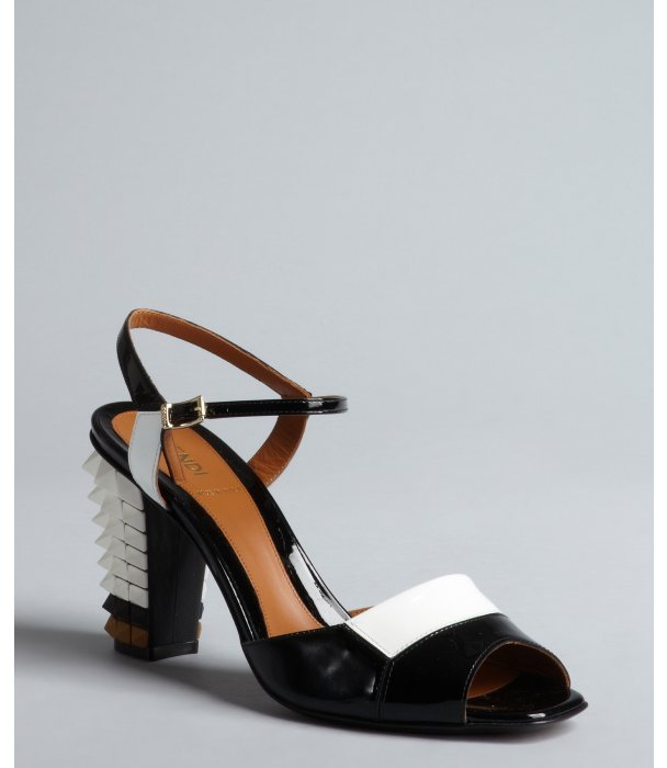 Fendi black and white patent leather spiked block heel sandals