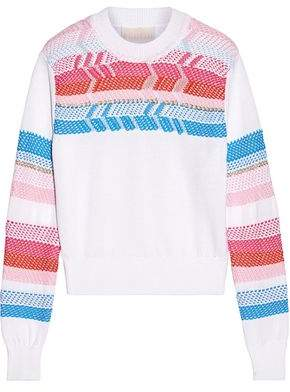 Peter Pilotto Crochet-Paneled Cotton Sweater