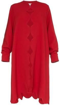 Valentino scallop trim oversize wool coat