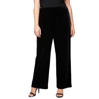 Alex Evenings Women's Plus Size Stretch Velvet Flat Front Pant