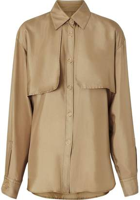Burberry Cape Detail Silk Shirt