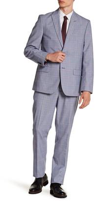 Ben Sherman Blue Plaid Two Button Peak Lapel Extra Trim Suit $600 thestylecure.com