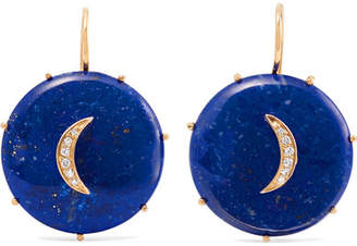 Andrea Fohrman Crescent Moon 14-karat Gold, Lapis Lazuli And Diamond Earrings
