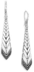 John Hardy Modern Chain Black Sapphire& Spinel Long Drop Earrings