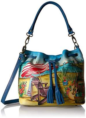 Anuschka Anna by Hand Painted Leather Drawstring Satchel