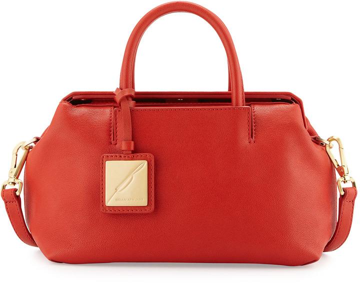 Brian Atwood Sandra Mini Leather Satchel Bag, Red
