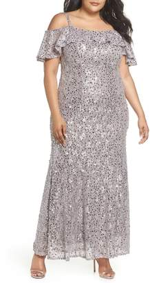 Morgan & Co. Sequin Cold Shoulder Gown