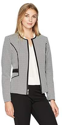 Kasper Women's Knit Houndstooth Zipper Front Jacket