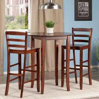 Winsome Fiona 3-Pc High Round Table with Ladder Back Stool