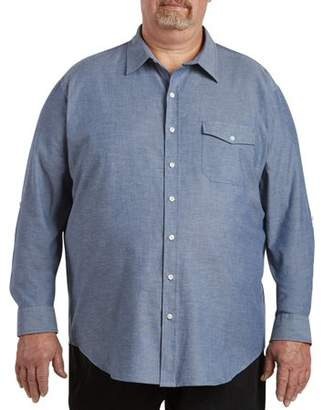 555 Turnpike Men's Big& Tall Washed Chambray Roll Sleeve Shirt, up to size 7XL