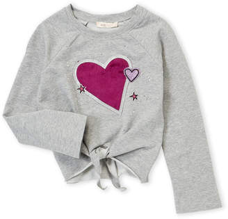Baby Sara Girls 4-6x) Grey Heart Patch Pullover