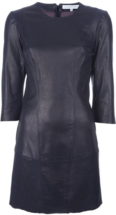 Amaya Arzuaga fitted leather dress