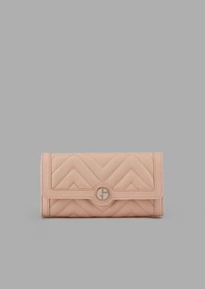 Giorgio Armani Bi-Fold Wallet In Quilted Nappa Leather With Logo