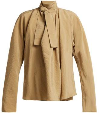 Lemaire Draped Pussy Bow Blouse - Womens - Tan