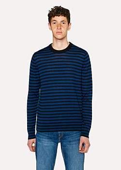 Paul Smith Men's Slate Blue And Black Stripe Crew-Neck Merino Wool Sweater