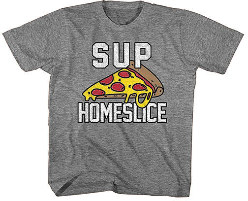 Heather Graphite 'Sup Homeslice' Tee - Boys