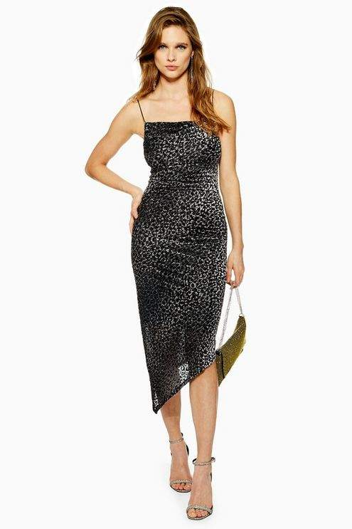 Animal Print Burnout Slip Dress