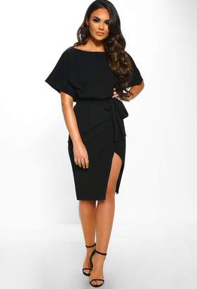 Pink Boutique Came Here For Love Black Belted Wrap Front Midi Dress