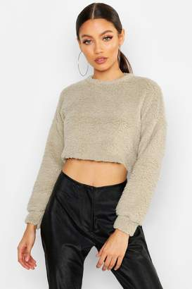 3ff9a2010 boohoo Petite Teddy Fleece Cropped Top