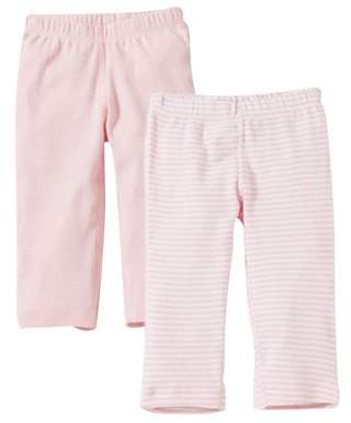 Burt's Bees Baby Organic Footless Pants, Solid and Stripe, 9M, Blossom, 2 Ct