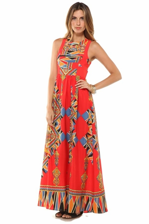 Lovers + Friends Kitty Cat Maxi Scarf Dress in Red