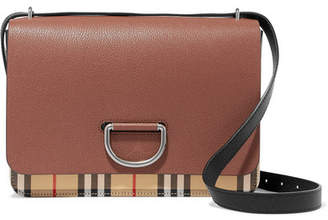 Burberry Textured-leather And Checked Canvas Shoulder Bag - Tan