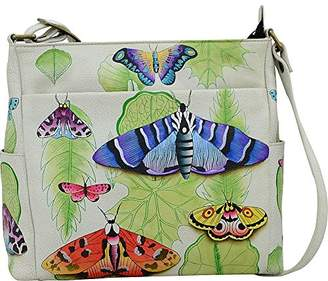 Anuschka Anna by Women's Genuine Leather Cross Body with Side Pockets | Hand Painted Original Artwork |