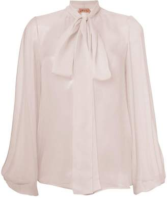 No.21 split sleeve pussy-bow blouse