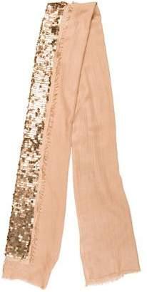 Tory Burch Silk & Wool Embellished Scarf