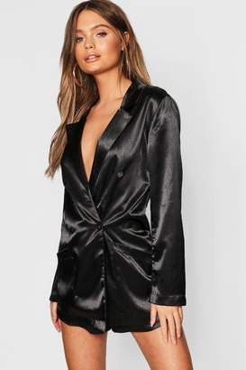 boohoo Satin Blazer Playsuit