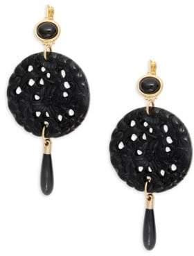 Kenneth Jay Lane Goldtone Carved Circle Drop Earrings