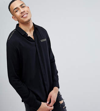 Asos Design Tall Regular Fit Shirt With Studded Pocket